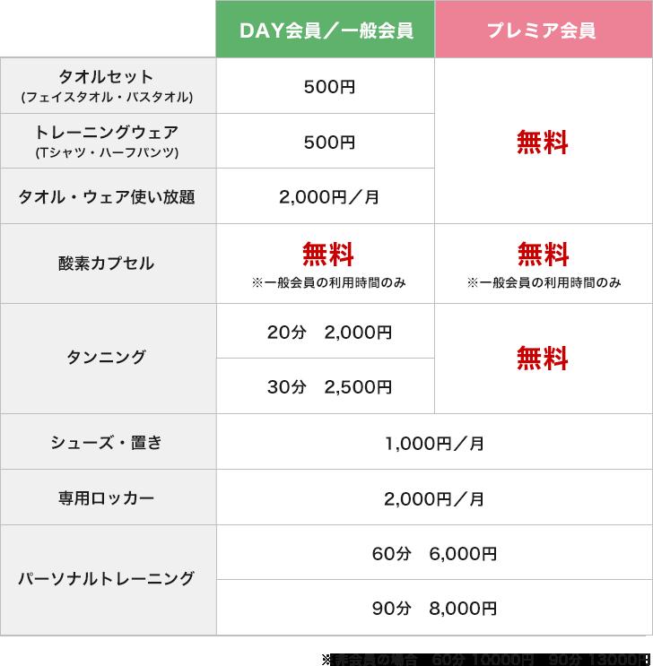 オプション料金表